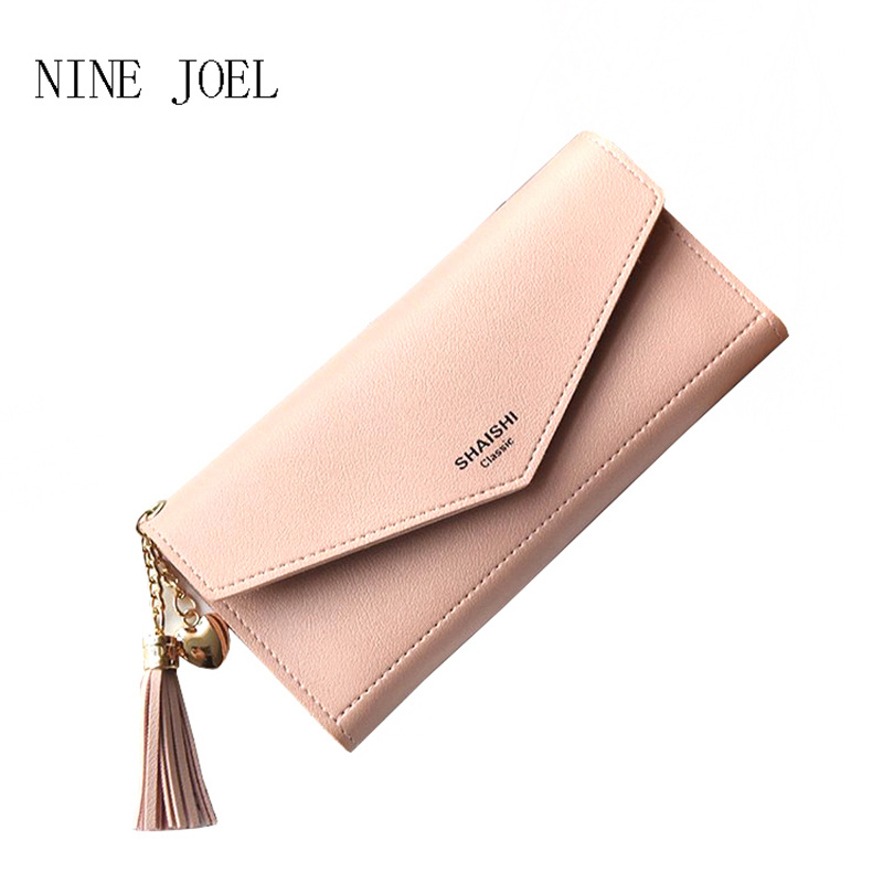 2017 New Fashion Women Wallets Pure Colour Hasp PU Leather Zipper Wallet Women's Long Design Purse One Fold More Color Clutch