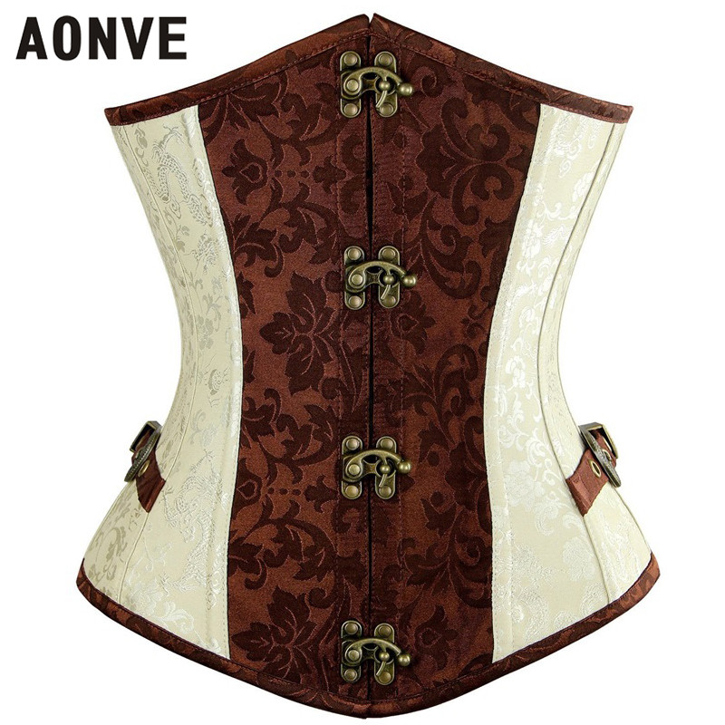 AONVE Steampunk   Corset   Sexy Buckle Vintage Corselet Gothic Clothing Women Waist Trainer Lace up Clubwear Korset   Bustier   Tops