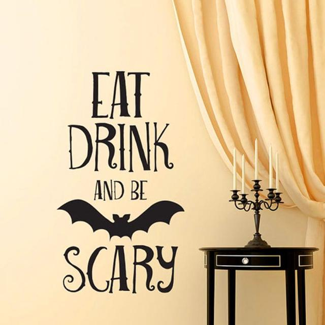 2017 Halloween Letters Wall Sticker Window Home Decoration Decal ...