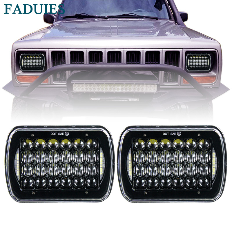FADUIES 5X7 6x7 inch Rectangular Sealed Beam 5D LED Headlight With DRL For H6052 H6053 H6054 Jeep Wrangler JK YJ Freightliner pair square 5x7 inch led headlight daymaker sealed beam replacement truck light high low beam headlamp for jeep wrangler yj
