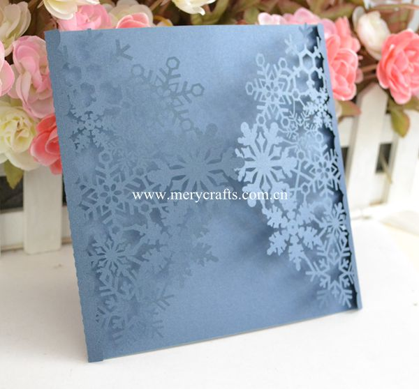 12pcs Free Shipping Snowflakes Invitation Card Laser Cut Navy Blue Wedding  Invitations Snowflakes Design(China