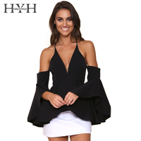 HYH HAOYIHUI Solid Black Women Blouse Off Shoulder V Neck Flare Sleeve Backless Tops Cross Straps