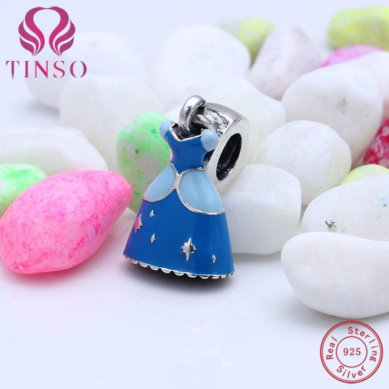 Authentique 100% 925 Sterling Argent Émail Cendrillon Robe Pendentif Charmes Adapté par Perles D'origine Pandora Bracelet pour La Fabrication de Bijoux