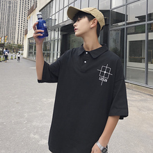 Men's POLO shirt 2019 summer new Hong Kong style short-sleeved Polo shirt men's lapel Hong Kong style loose wild men's clothing недорого
