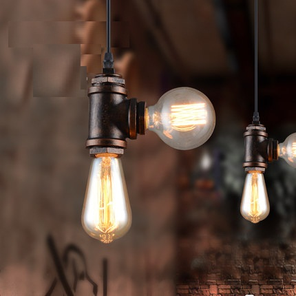 Loft Style Iron Water Pipe Lamp Edison Pendant Light Fixtures Vintage Industrial Lighting For Dining Room Indoor Hanging Lamp loft style rope water pipe lamp edison pendant light fixtures vintage industrial lighting for dining room retro iron droplight