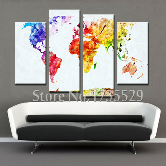 Panel Abstract The Colorful World Map Canvas Painting Home Decor - Colorful world map painting