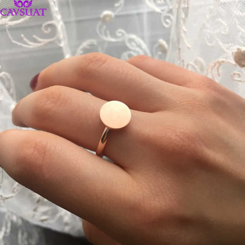 Dainty Full Moon Rings For Women Girls Stainless Steel Round Disc Coin Stacking Ring Geometric Jewelry Gold Silver Color Anel