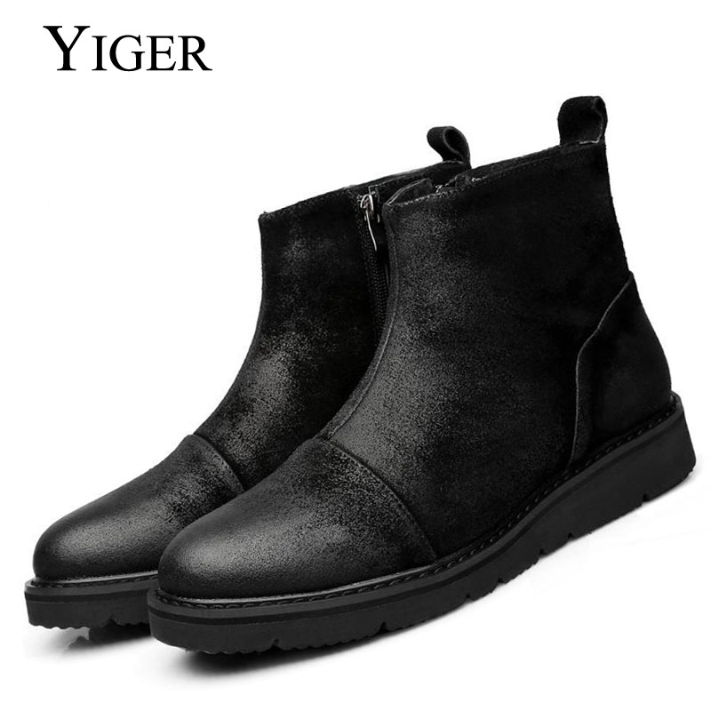 YIGER NEW Spring/Autumn Ankle Men Genuine Leather Cow Suede Boots Matte Leather Retro style Martin Men boots 0004 men s desert military boots touch guy cow suede genuine leather ankle martin boot