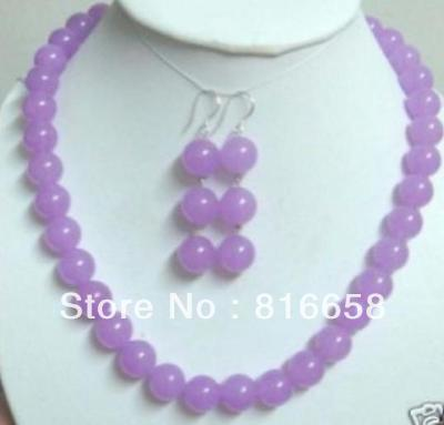 Free shipping@@Charming 10mm purple Natural stone Gems necklace&earring 18''