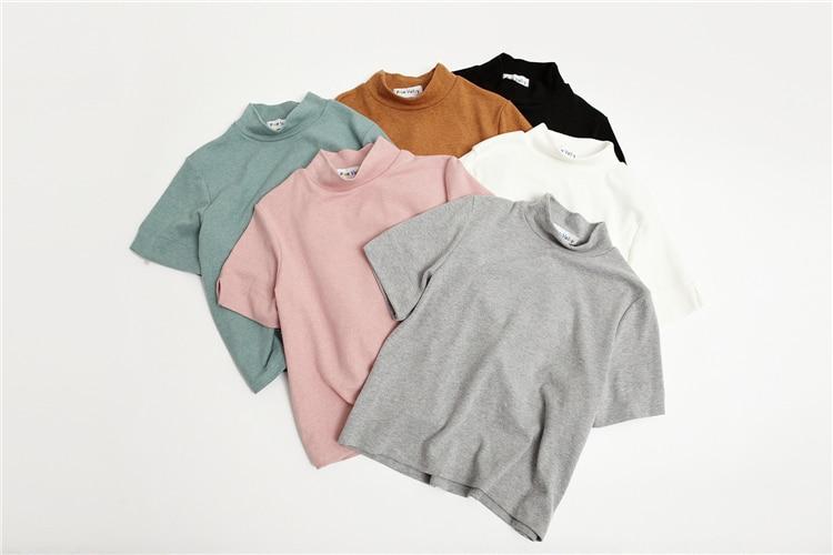 HTB1Zf7cLVXXXXXEXVXXq6xXFXXXt - Summer T-Shirt Short Style Casual Stand Collar