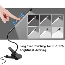 Touching Brightness Adjustable Desk Lamp Flexible USB LED Reading Light LED Solid Clip Read Lamp for Laptop Bedroom(China)