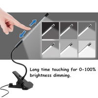 1 3 M Touch Dimmable Flexible USB LED Eye Care Reading Light Adjustable LED Solid Clip