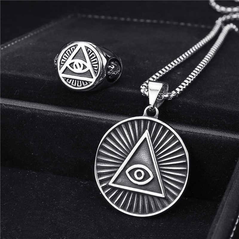 Мужское кольцо подвеска ожерелье из нержавеющей стали Иллюминаты все-видя глаз illunati Пирамида/глаз символ Байкер ювелирные наборы