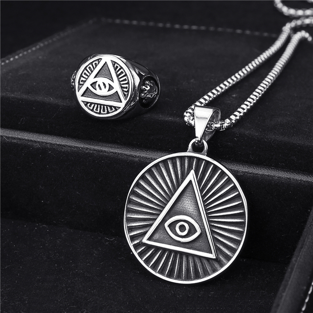 Mens Stainless Steel Ring Pendant Necklace Illuminati The All Seeing