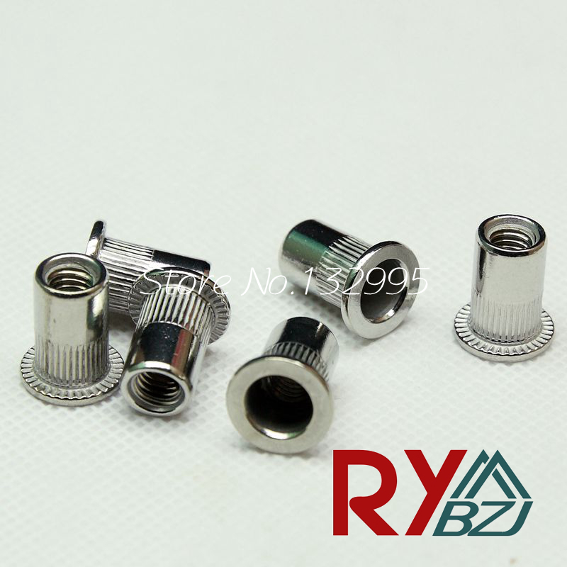 купить M3 M4 M5 M6 M8 M10 M12  Rivet Nut Stainless Steel A2 Insert nut SUS 304 Blind rivet nut Inserts Flat Head Rivet Nut SSFH001 дешево