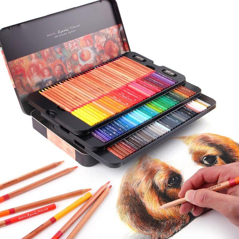 24/36/48/72/100 Colori Pastiglia di Legno Matite Colorate Professionisti Artista Pittura A Olio per il Disegno pittura a Olio di Colore Set Regalo