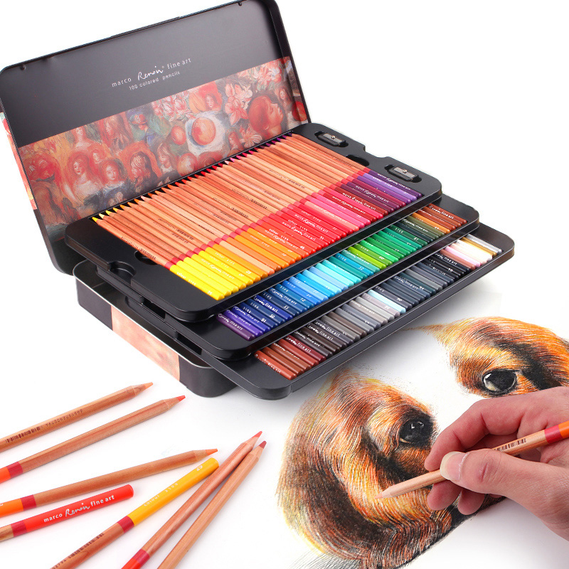 24/36/48/72/100 Couleurs Pastille Crayons de couleur En Bois Professionnels Artiste Peinture À L'huile pour le Dessin peinture À L'huile Couleur Ensemble Cadeau
