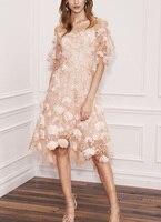 Видеть Оранжевый Индивидуальный заказ Фея Вышивка Цветочные летнее платье Sexy бретелек кружевное платье женское платье SO3322