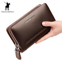 Williampolo double zipper men's wallet long clutch bag large