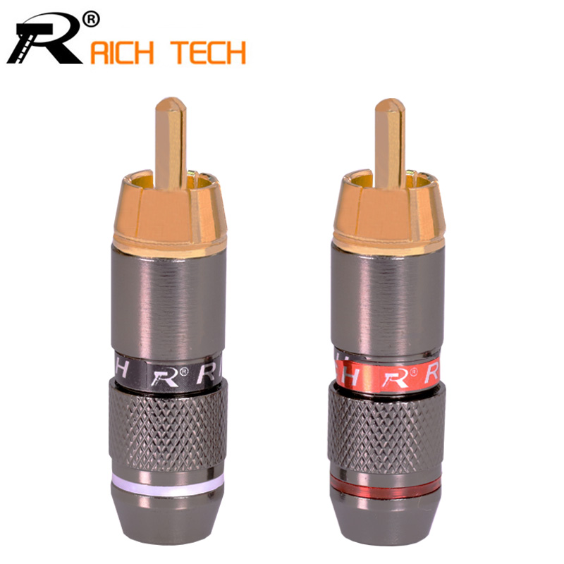 10 Pairs High Quality Gold Plated RCA Connector RCA male plug adapter Video/Audio Connector Support 6mm Cable black&red 20pcs купить