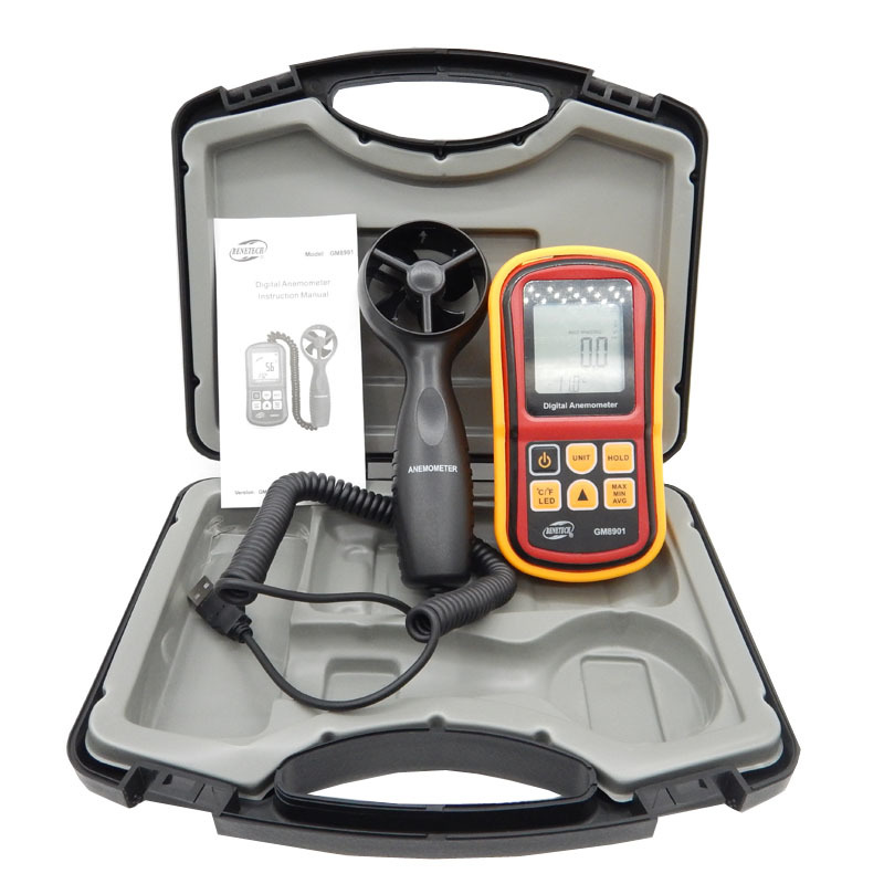High Quality GM8901+(with box ) 45m/s (88MPH) LCD Digital Hand-held Wind Speed Gauge Meter Measure Anemometer Thermometer high quality gm8901 with box 45m s 88mph lcd digital hand held wind speed gauge meter measure anemometer thermometer
