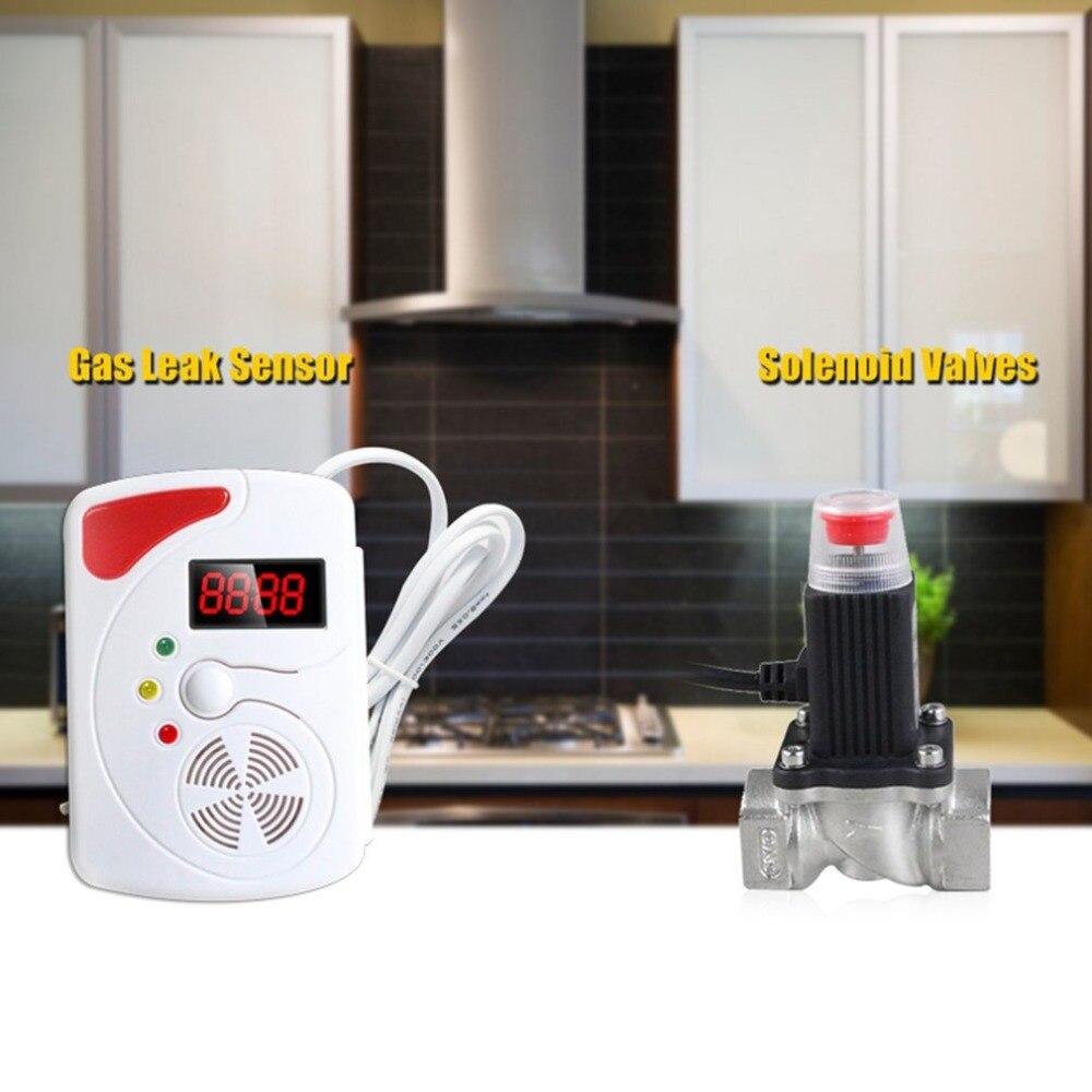 Smart Stimme Gas Leckage Detektor Digitalen Display LPG Erkennen Gerät Mit Angetrieben Magnetventil Alarm Sensor Hohe Empfindlichkeit