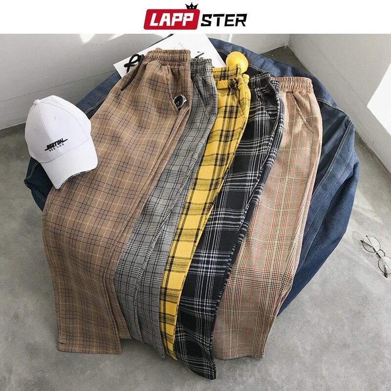 Lappster男性ストリート格子縞のハーレムパンツ 2020 男カジュアルストレートジョギングパンツ韓国ファッショントラックパンツプラスサイズのズボン