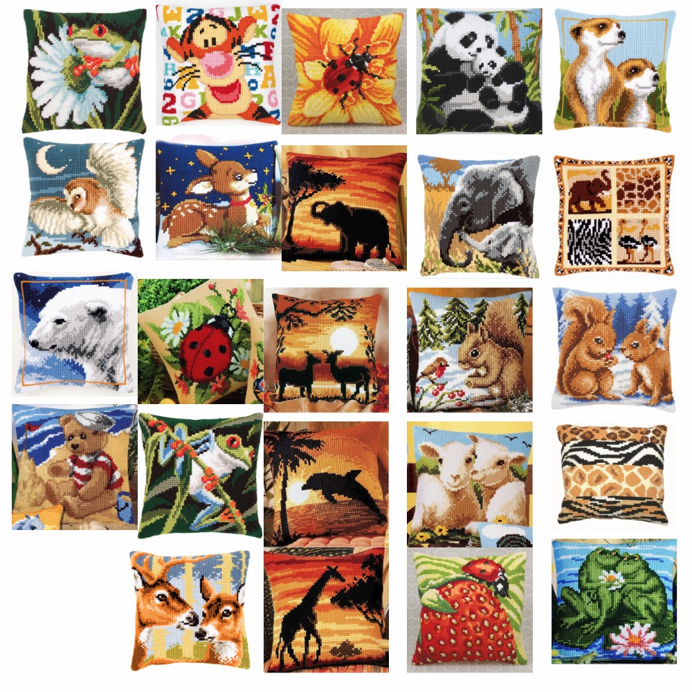 animals style Cross Stitch Pillow Mat DIY Craft Tapestry Pillow 42CM by 42CM Needlework Crocheting Cushion Embroidery