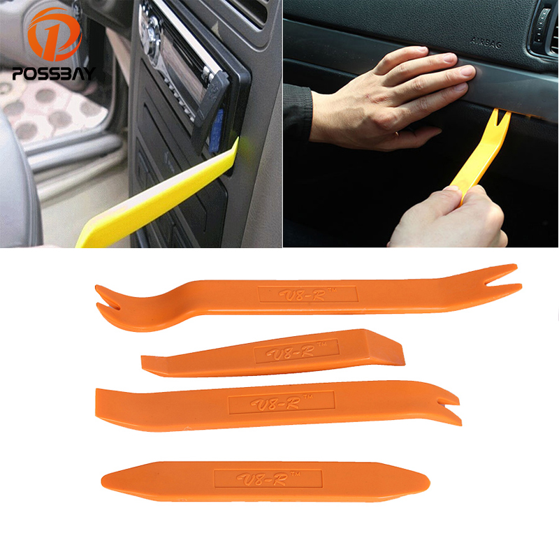 POSSBAY 4Pcs Universal Auto Repair Tools Car Panel Audio Dash Refit Plastic Removal Dismantle Pry Tools Household Tool Set