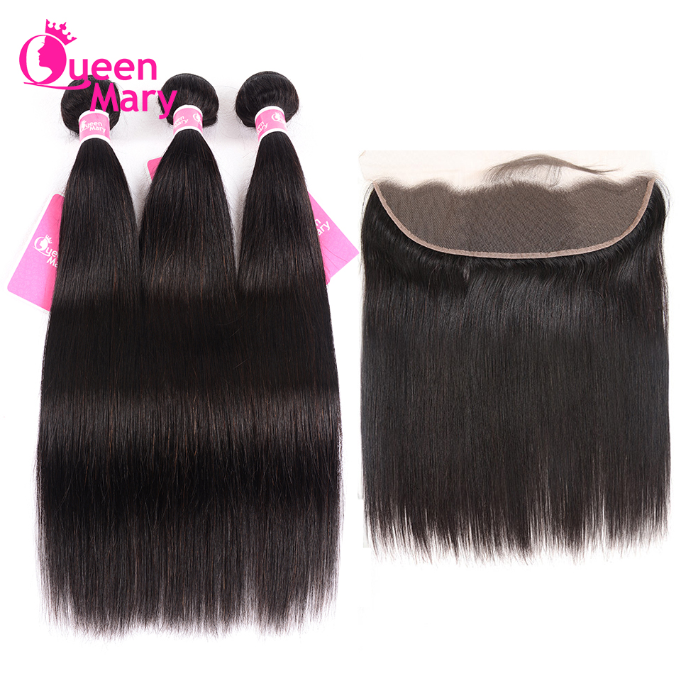 Hair-Bundles Closure Frontal Queen Mary Lace Peruvian Straight with 100-Human-Hair Noremy