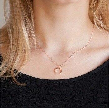 QiYuFan Delicate Pendant Necklace Curved Crescent Moon Star Heart Choker Necklaces Gold Silver Women Chain Jewelry Birthday Gift cordão feminino da moda
