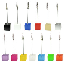 Color Cube Stand Alligator Wire Photo Clip,Memo Card Holder,Table Wedding Party Place Favor,Customized Gift Note Clamp