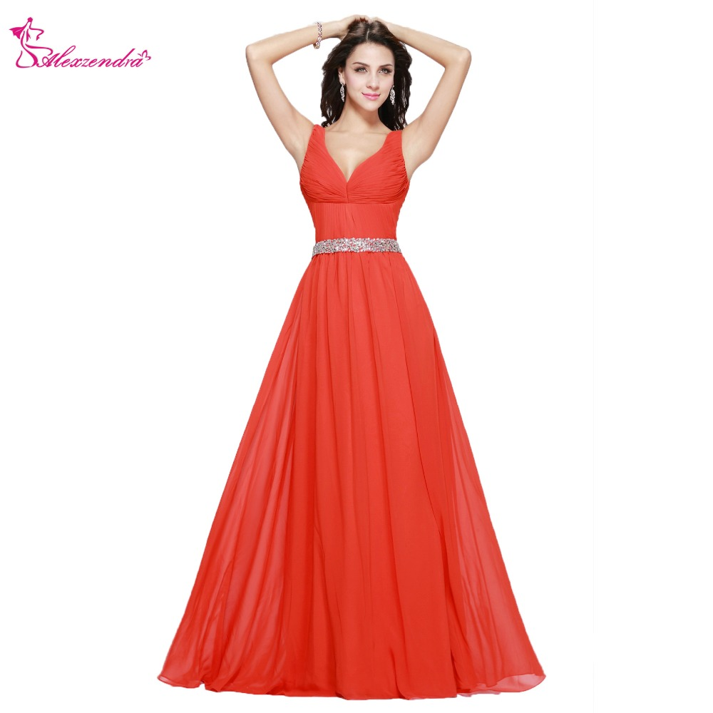 Alexzendra Simple Double V Neck A Line   Bridesmaid     Dress   for Wedding Beaded Belt Party Gown   Bridesmaids   Gown