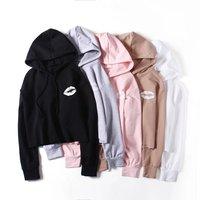 Women kawaii sexy lips hoodies cute crop cropped hood pink long-sleeved pullovers hoodies swearshirt sweat femme