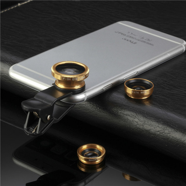 Fish Eye Macro Wide Angle Mobile Phone Lenses lens 3 in 1 Universal Clip For Iphone 5 6 6s plus For Samsung Galaxy S6 Lg  Sony