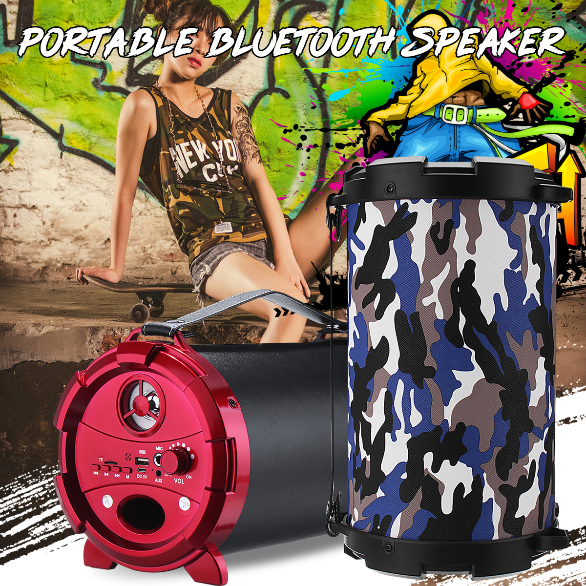 Portable Wireless Hifi Bluetooth Speakers 10W Bass Subwoofer Loundspeaker FM Radio TF Card/USB/AUX Stereo + Microphone Outdoor kinco portable outdoor sports 15w wireless bluetooth speaker bass subwoofer 2000mah hifi stereo loundspeaker radio fm tf usb aux