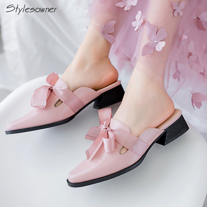 Stylesowner New 2018 Square Toe Riband Open Back Heels Slippers Chunky Heels Mules Shoes Lace Knot Slides Top Quality Heels Shoe halter open back knot front tank top