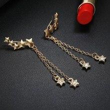 Cute Star Tassel Crystal Drop Earrings For Women Vintage Metal Long Pendant Earring Fashion Jewelry Punk Style Gold Color