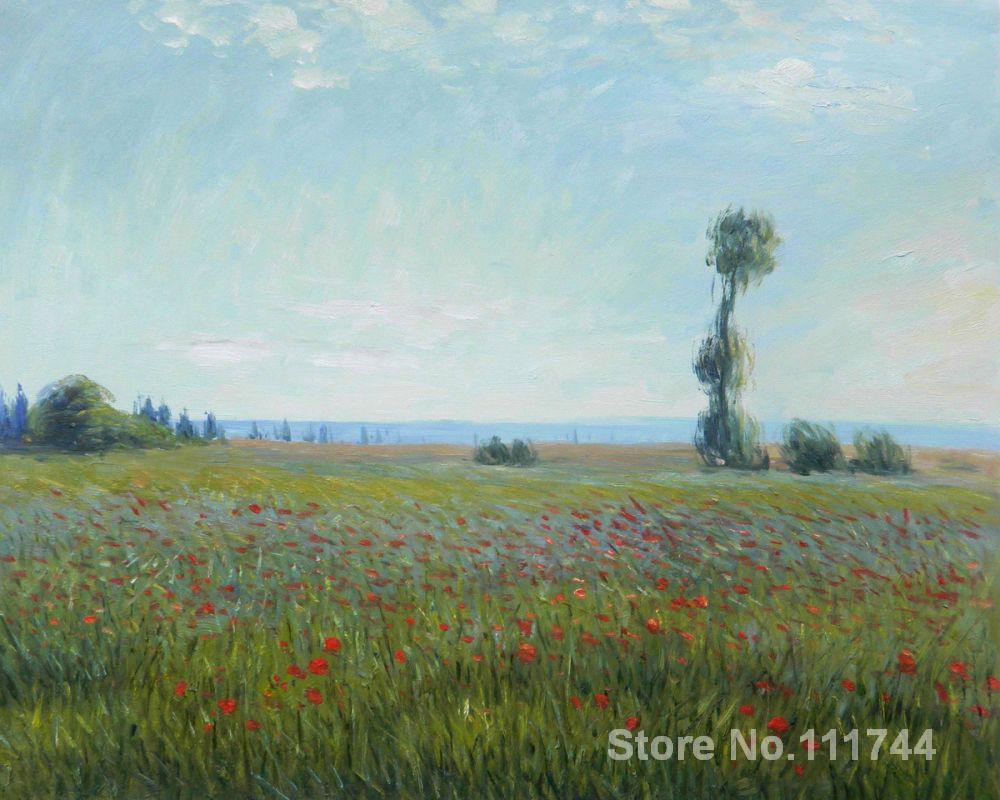 Paintings for bedroom The Fields of Poppies Claude Monet reproduction art High quality Hand painted
