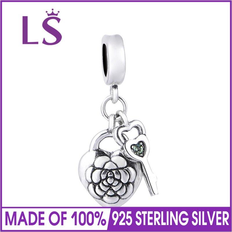 LS 925 Sterling Silver Charms Flower Locket Beads Fits Original Bracelets Bangle berloques para pulsera jewelry