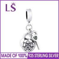 LS 925 Sterling Zilveren Bedels Bloem Medaillon Kralen Past Originele Armbanden Bangle berloques para pulsera sieraden