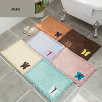 Modern Super Soft Cotton Delicate Butterfly Pattern Bathroom Floor Mats and Rugs Non slip Strong Absorbent Rugs for Bathroom