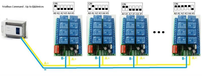 2018 8 Channel DC 12V RS485 Relay Module Modbus RTU 485
