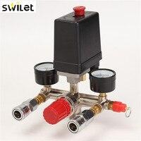 Air Compressor Pressure Valve Switch Manifold Relief Regulator Gauges 90~120 PSI 240V 17x15.5x19 cm Popular