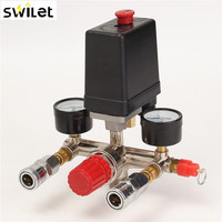 Air Compressor Pressure Valve Switch Manifold Relief Regulator Gauges 90 120 PSI 240V 17x15 5x19 Cm
