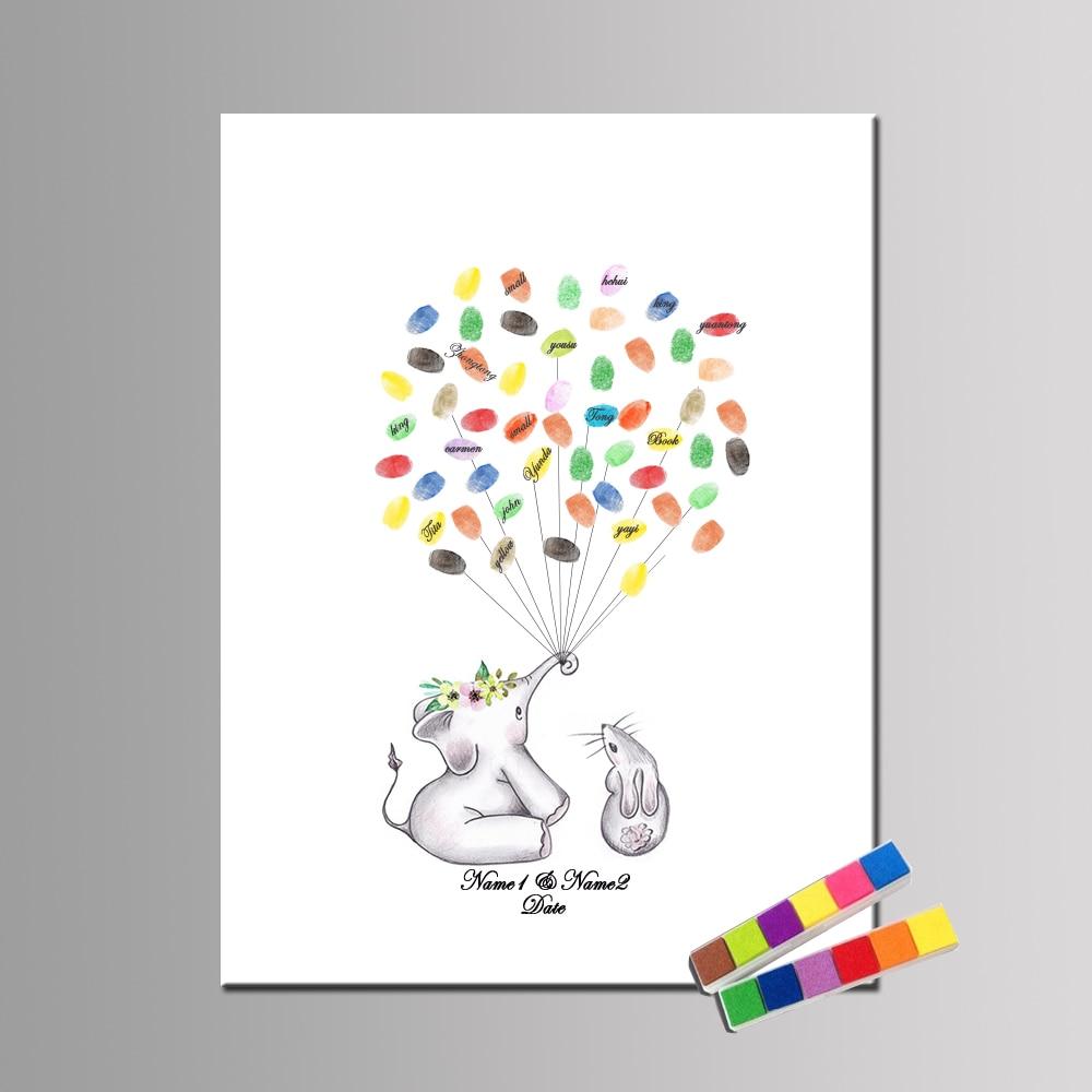 Personalize Canvas Print Wedding Guestbook Cartoon