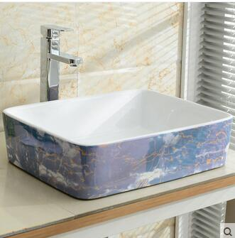 Wei yu the stage basin square The basin that wash a face wash basin sink rural Mediterranean basin blue pool art in Bathroom Accessories Sets from Home Garden