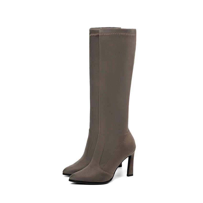 ESVEVA 2020 Diz Yüksek Çizmeler Kış sıcak Kadın Botları Platformu Motosiklet Çizmeler Kare Yüksek Topuk Streç Kumaş Ayakkabı Boyutu 34 -43