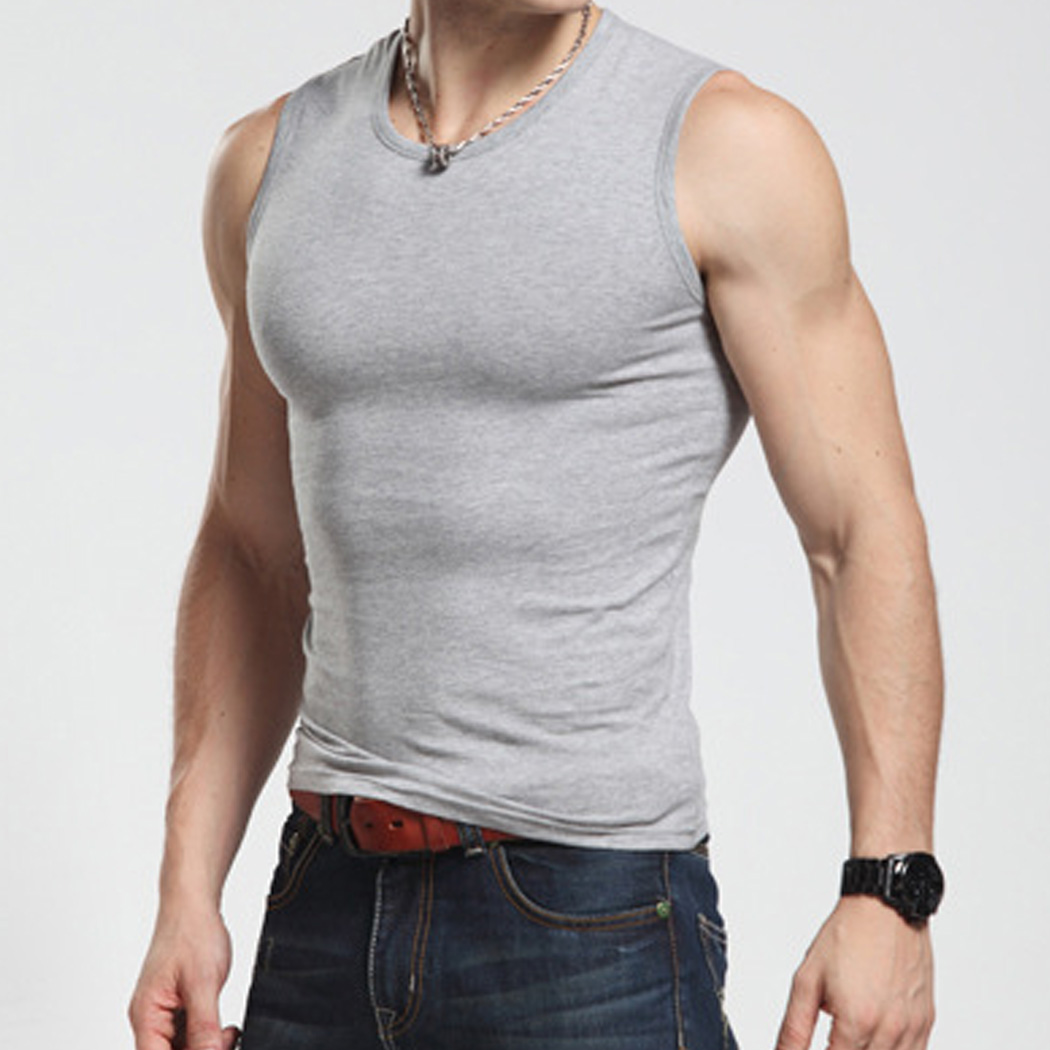 2017 hot new men tank top cotton sleeveless o neck t shirt for Best fitness t shirts