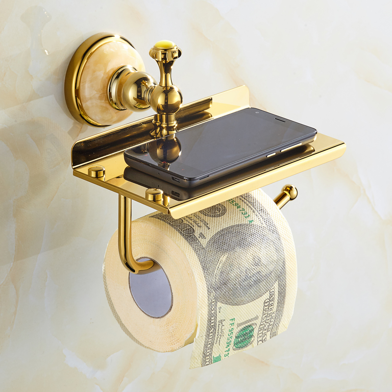 Europe Antique Gold Bathroom Product Wall Mounted Gold Stone Toilet Paper Holder Gold With Cream Stone Decorate For Phone Holder